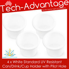 4 X STANDARD SIZE RECESSED WHITE DRINK/CUP/CAN/STUBBIE HOLDER MARINE BOAT YACHT