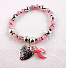 Breast Cancer Awareness bracelet pink ribbon silver beads 7.5 inch stretch