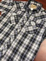 'Wrangler Western Cowboy Men's Pearl Snap Snaps Large Blue Black Short Sleeve