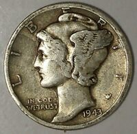 """1943-D  10C Mercury Dime 17luh0311 90% Silver  """"Only 50 Cents for Shipping"""""""