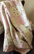 Shabby Chic French Country Throw Quilt Rug Blanket Large Pink Gingham Cream
