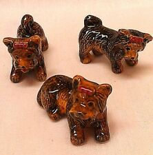 Porcelain, Miniature Terrier Dogs Set, Collectible, Gel Candle Embed, Decoration