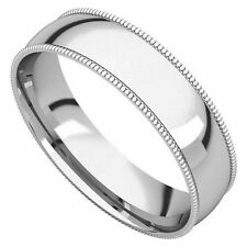 14k White Gold 5-mm UNISEX Standard-fit Milgrain and polished Wedding Band