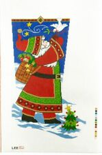 "Needlepoint Handpainted LEE Christmas STOCKING Santa With Dove 23"""