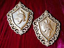 Vintage Set Of 2 Gold Wall Plaque Roman Soldier Helmet Hollywood Regency Mcm