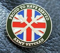 Army Veteran pin badge Proud to have served, British soldier Union Jack