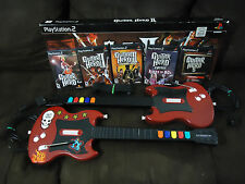 PS2 Playstation 2 Guitar Hero Lot - 2x Guitars & 5x Games *Broken Whammy Bar*