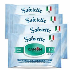 Camon salviette detergenti al muschio bianco cane. 4 Confezioni da 40 pezzi