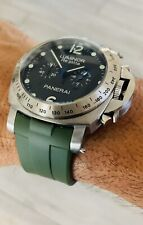 GREEN Perfect Fit Panerai 44mm Luminor Case 24mm Curved Vulcanized Watch Strap