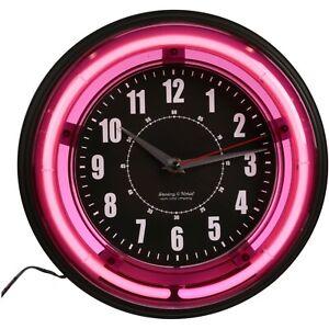 Retro Pink Neon Analog Wall Clock 11 inch Teen Room Man Cave Nightlight Bar Den