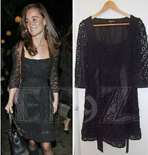 Rare WAREHOUSE black crochet lace cotton silk party dress satin sashes 12 40 ASO