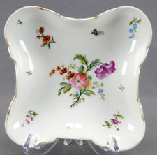 Hand Painted KPM Fraureuth Dresden Style Floral Dragonfly Butterfly Dish 1865