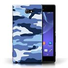 STUFF4 Case/Cover for Sony Xperia M2/Camouflage Army Navy/Blue 2
