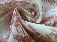 BY Yd SCALAMANDRE tropical TOILE PRINTED LINEN CORAL Red On Ivory MSRP$215/Y