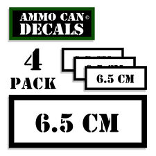 """6.5 CM Ammo Can 4x Labels Ammunition Case 3""""x1.15"""" stickers decals 4 pack WT"""