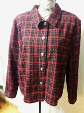 NWT Women's Christopher & Banks Size XL Red Black Plaid Jacket
