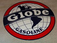 "VINTAGE ""GLOBE GASOLINE"" WORLD GRAPHICS 11 3/4"" METAL MOTOR OIL SIGN! PUMP PLATE"