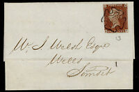 SG8, 1d red-brown PLATE 13, FINE USED, on 1841 COVER. BLACK MX. Cat £350. HC