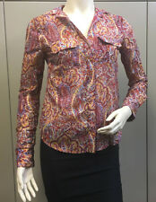 "$158 BCBG CHILI COMBO ""LIAM"" LONG SLEEVE PRINTED BLOUSE TOP NWT XXS"