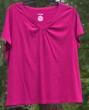 St. John's Bay Wine Short Sleeve cotton blend V-neck Top. 2X. nwot