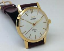SLIM HMT SONA PARASHOCK 17 JEWELS WHITE DIAL MEN'S G/P CASE INDIA WRIST WATCH