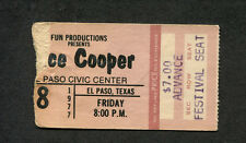 1977 Alice Cooper concert ticket stub El Paso Texas Lace and Whiskey