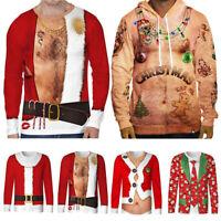 Herren Weihnachten 3D T-Shirts Langarm Santa Xmas Pullover Oberteile Shirt Tops