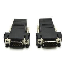2 PCS VGA EXTENDER VIA CAT5 5E 6 MALE TO LAN RJ45 ETHERNET CABLE ADAPTOR TO 33M