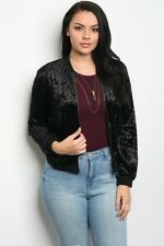 Women's Plus Size Black Crushed Velvet Bomber Jacket 2XL NWT
