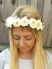 Ivory Rose Bud Flower Garland Headband Hair Crown Bridesmaid Boho Festival 2039