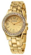 NEW Rousseau 9056 Women's Rene Coll. Swarovski Bezel Yellow Gold Bracelet Watch