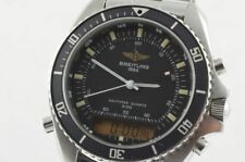 Breitling PLUTON 3100 Men's Watch Steel 42mm 80191 Black Rarity + orig. Band
