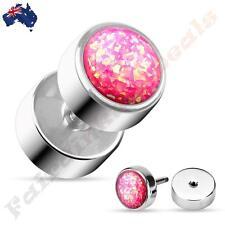 316L Surgical Steel Pink Glitter Opal Fake Ear Plug