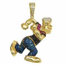 "1 3/4"" Popeye the Sailor CZ Pendant Real Solid 10K Yellow Gold"