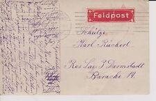 1917 DR,Feldpost mit rot Feldpost vignette-Rollstempel ASCHAFFENBURG 9.11.17