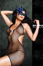 Sexy Black DUPU Fishnet Halter Neck Diamante Body Stocking Dress One Size 8019