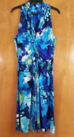 JONES NEW YORK Size 12 Blue Floral Watercolor Stretchy Knotted Sleeveless Dress