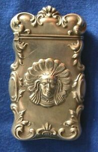 399-Antique sterling silver American Indian match safe