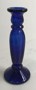 "Antique Cobalt Blue Glass Vase 8 3/4"" Tall Handmade With Mold"