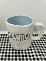 Rae Dunn GRATITUDE Mug Blue Interior NEW
