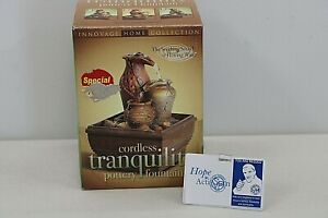 NEW Innovage Home Collection Cordless Tranquility Pottery Fountain NIB