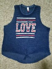 No Boundries Blouse Red White Blue LOVE Sheer Sleeveless Tie Front XXL (19)