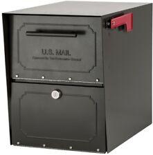 Locking Parcel Mailbox Post Mount Large Steel Black Cam Lock Door Weatherproof