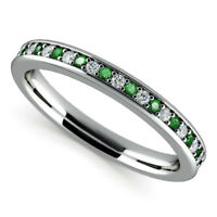0.78 Ct Emerald Gemstone Rings Solid 14K White Gold Diamond Rings Size J L N O