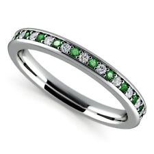 0.78 Ct Emerald Gemstone Ring Solid 14K White Gold Diamond Rings Size M N O P