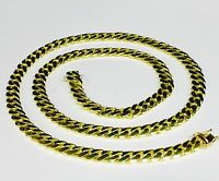 "18k Solid Yellow Gold Miami Cuban Curb Link 24"" 8 mm 115 grams chain/Necklace"