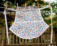 Vintage 60's Pink & Blue Paisley and Floral Fancy Hostess Half Apron Fun Shape