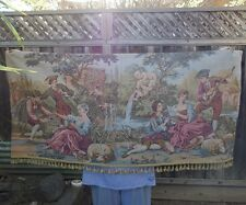 Tapestry Victorian French Italy Vintage cherub fountain bird birdcage fringe