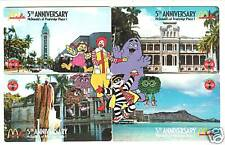 McDonald's Coca-Cola Pearl Ridge Hawaii puzzel phonecards set of 4