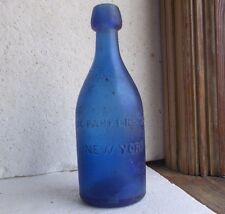 COBALT BLUE J.G.PARKER & SON NEW YORK 1860s DUG SQUAT BLOB TOP SODA BOTTLE